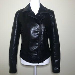 T Tahari faux leather moto jacket Sz L. NWT